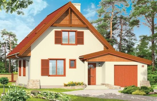 Projekt domu D03 z Garażem - wizualizacja frontowa