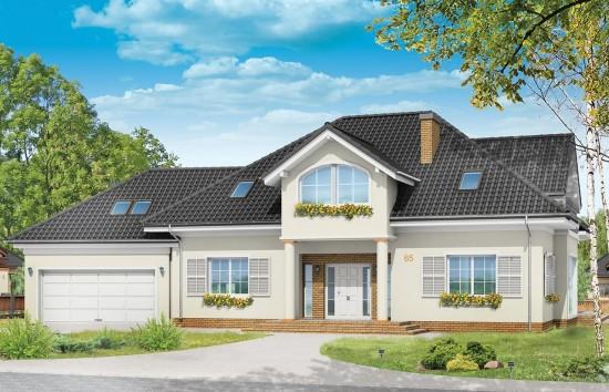Projekt domu Dom z kolumnami  - wizualizacja frontu