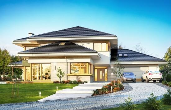 Projekt domu Dom z widokiem B - wizualizacja frontu