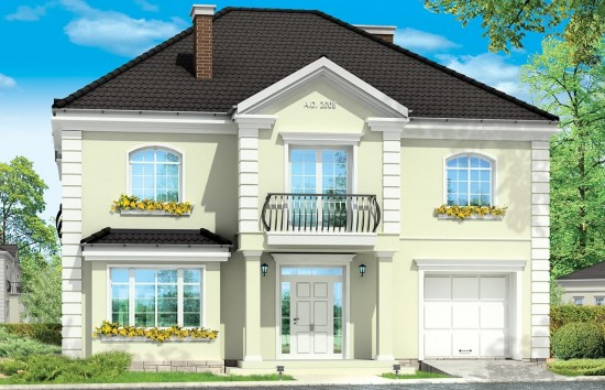 Projekt domu Elegancki - wizualizacja frontowa