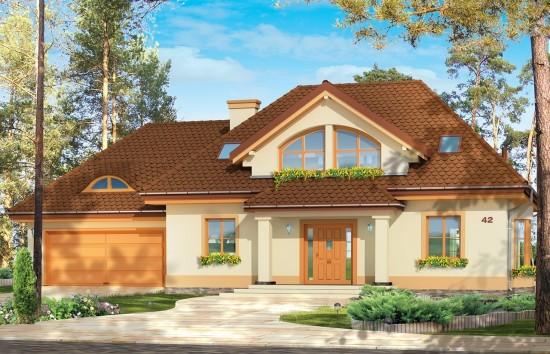 Projekt domu Faworyt 2 - wizualizacja frontowa