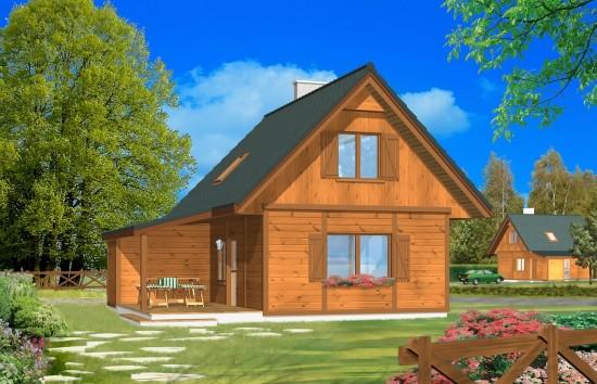Projekt domu Francik z tarasem - wizualizacja frontowa