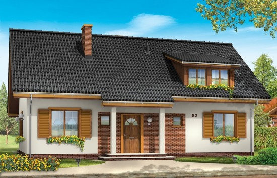Projekt domu Fraszka - wizualizacja frontowa