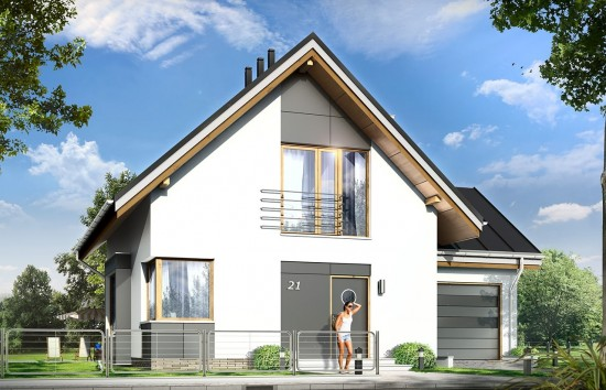 Projekt domu Gucio 2 - wizualizacja frontowa