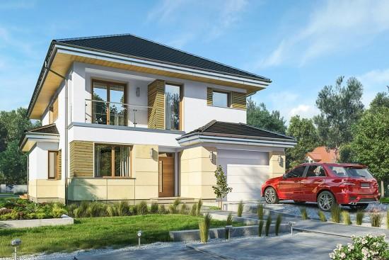 Projekt domu Kasjopea 8 - wizualizacja frontowa