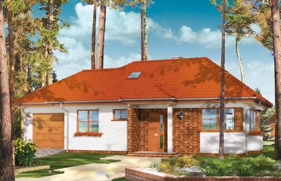 Projekt domu Klejnot z garażem - wizualizacja frontowa