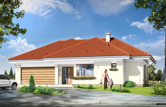 Projekt domu Komfortowy 3 - wizualizacja frontowa