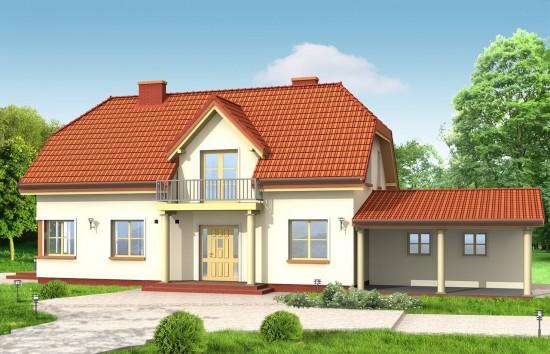 Projekt domu Krzysztof - wizualizacja frontowa