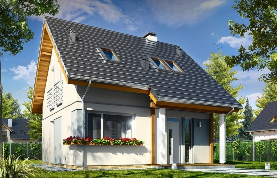 Projekt domu Mikrus - wizualizacja frontowa