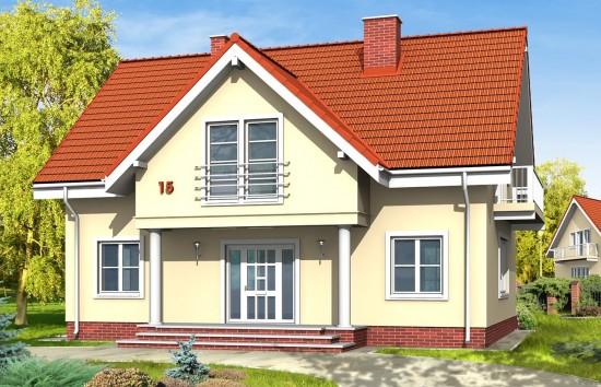 Projekt domu Miodowe Lata - wizualizacja frontowa