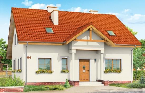 Projekt domu Na Wspólnej - wizualizacja frontowa