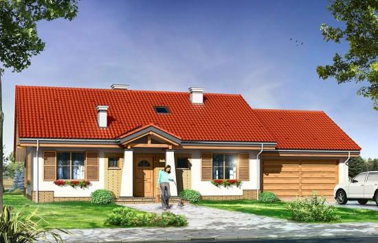 Projekt domu Niezapominajka z garażem 2 - wizualizacja frontowa