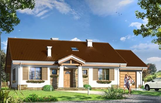 Projekt domu Niezapominajka z garażem - wizualizacja frontowa