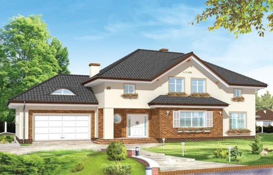 Projekt domu Okazały - wizualizacja frontowa