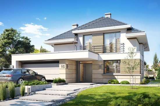 Projekt domu Oszust - wizualizacja frontowa