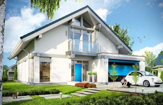 Projekt domu Otwarty 2 - wizualizacja frontowa