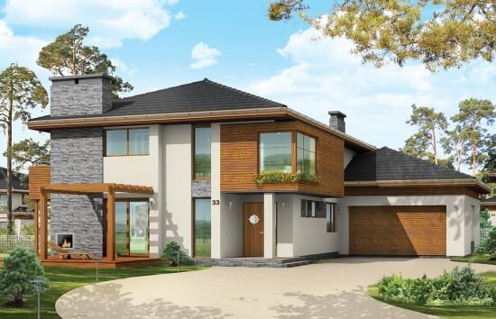 Projekt domu Południowy - wizualizacja frontowa