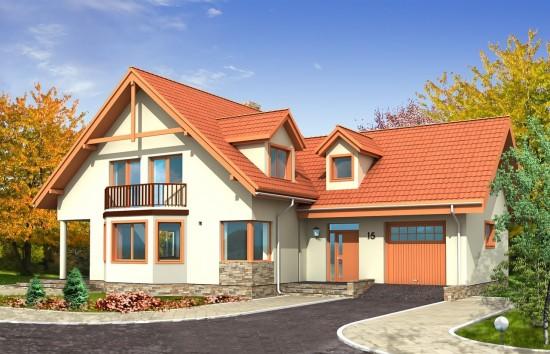 Projekt domu Przestronny - wizualizacja frontowa
