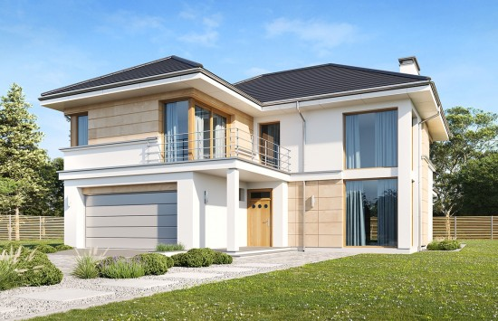 Projekt domu Riwiera 5 wariant B wizualizacja frontowa