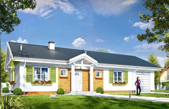 Projekt domu Słoneczny z garażem 2 - wizualizacja frontowa