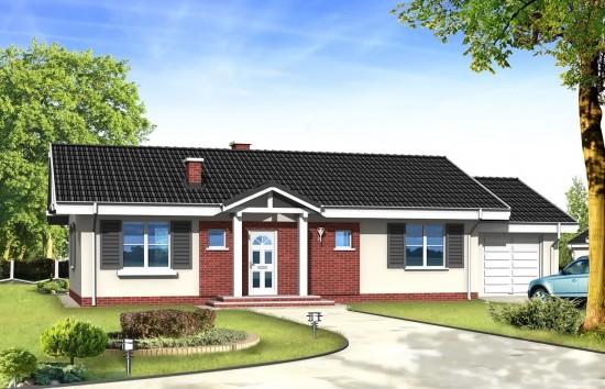 Projekt domu Słoneczny z garażem - wizualizacja frontowa