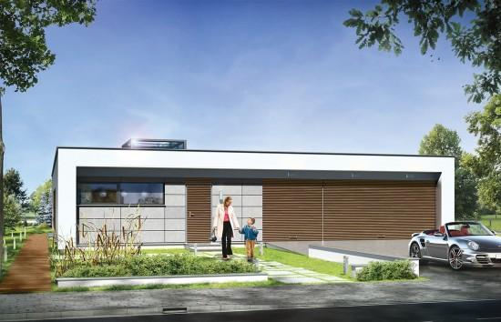 Projekt domu Willa Atrium - wizualizacja frontowa