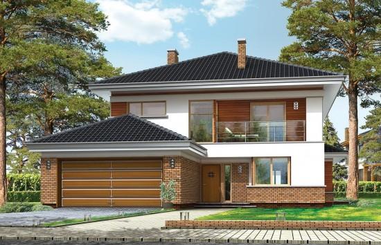 Projekt domu Willa na Borowej - wizualizacja frontowa