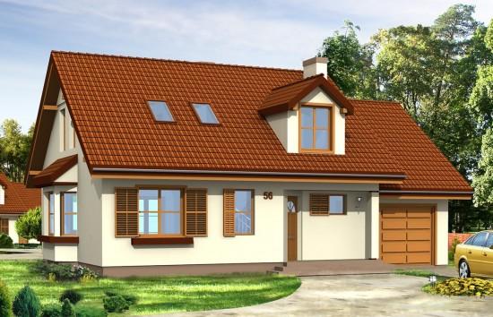 Projekt domu Zgrabny z lukarnami - wizualizacja frontowa