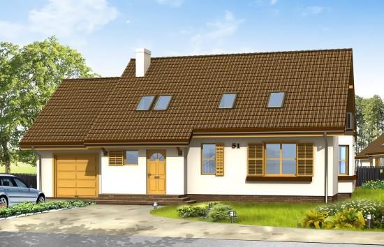 Projekt domu Zgrabny z przedsionkiem - wizualizacja frontowa