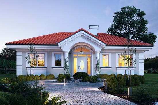 Projekt domu Dom na dębowej - wizualizacja frontowa noc