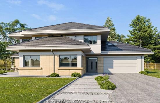 Projekt domu Dom z widokiem 3 wariant J - wizualizacja frontowa