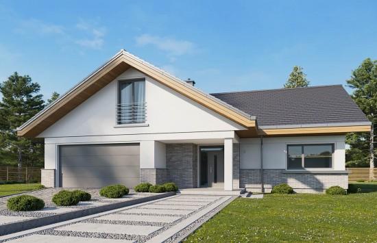Projekt domu Doskonały 2 wariant D - wizualizacja frontowa