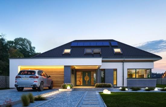 Projekt domu Hiacynt wariant B - wizualizacja frontowa