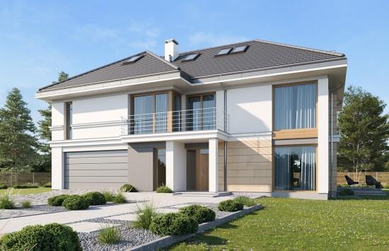 Projekt domu Riwiera 3 wariant E - wizualizacja frontowa