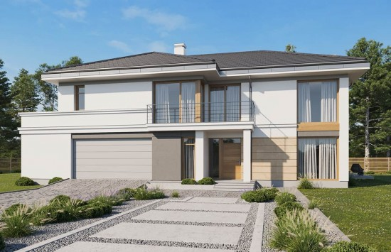 Projekt domu Riwiera 3 wariant B - wizualizacja frontowa