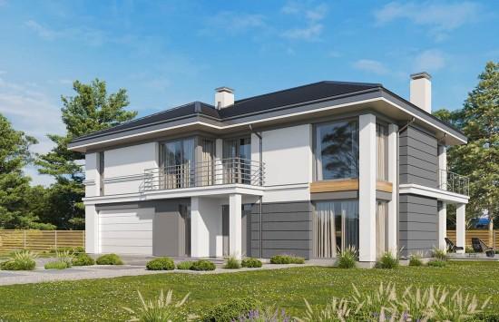 Projekt domu Riwiera 3 wariant C - wizualizacja frontowa