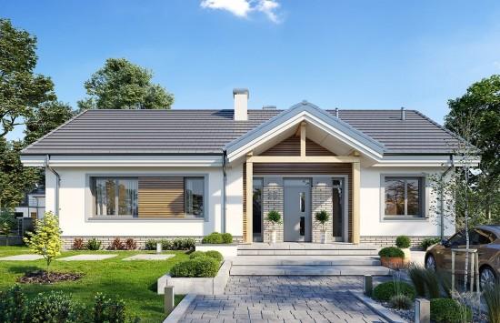 Projekt domu Willa rodzinna - wizualizacja frontu