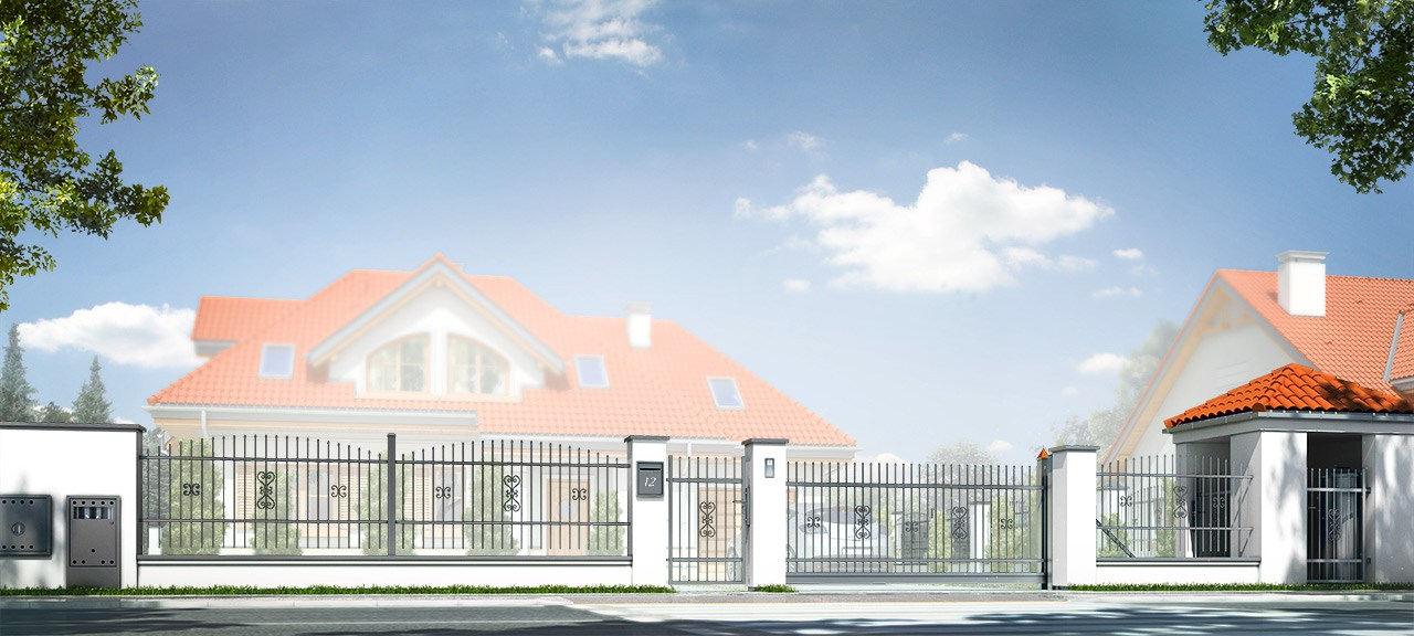 Projekt ogrodzenia klasycznego z murowanymi słupkami i metalowymi ozdobnymi przęsłami
